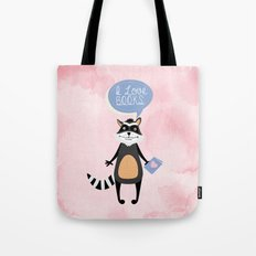 Woodland Creatures: Raccoon Loves Books Tote Bag