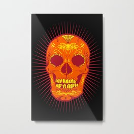 Orange Calavera Skull  Metal Print