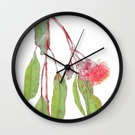 Flowering Silver Princess Eucalyptus Watercolour Wall Clock
