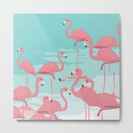 Kitschy Retro Flamingos Metal Print