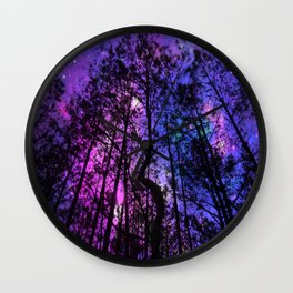 Black Trees Purple Fuchsia Blue space Wall Clock
