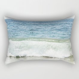 Blue Ocean Seascape, Sea Wave Photography, Pacific Coastal Landscape, Beach Seashore Rectangular Pillow