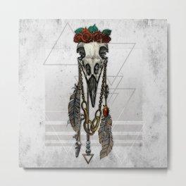 Bestial Crowns: The Crow Metal Print