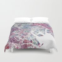tokyo Duvet Covers featuring TOKYO by MapMapMaps.Watercolors