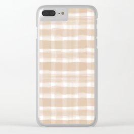 Ligonier Tan SW 7717 Watercolor Brushstroke Plaid Pattern on White Clear iPhone Case