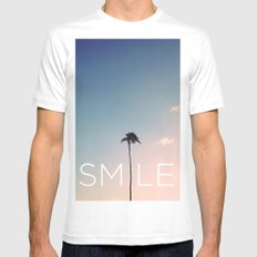 Palm tree Smile Mens Fitted Tee White MEDIUM