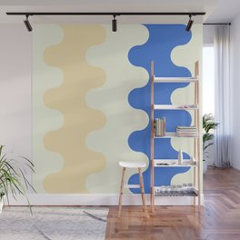 peach and azure waves Wall Mural