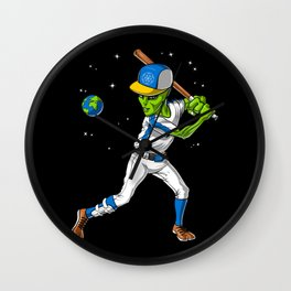 Alien Baseball Player Wall Clock