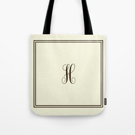 Monogram Letter H in Brown with Double Border Line Tote Bag