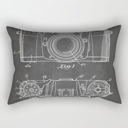 Camera Patent - Photography Art - Black Chalkboard Rectangular Pillow