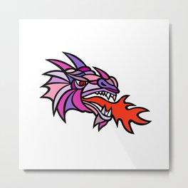 Mosaic Mythical Dragon Breathing Fire Mascot Metal Print