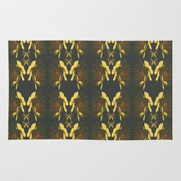 Art Nouveau Poppy Abstract Butterfly Pattern Rug