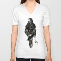 hawk V-neck T-shirts featuring Hawk by Hana Robinson