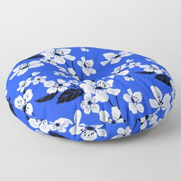 Blue Sakura Cherry Tree Flower Blooms - Aloha Hawaiian Floral Pattern Floor Pillow