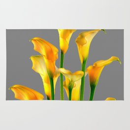 DECORATIVE GOLDEN CALLA LILY FLOWERS ON GREY ART Rug