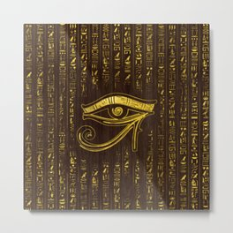 Golden Egyptian Eye of Horus  and hieroglyphics on wood Metal Print