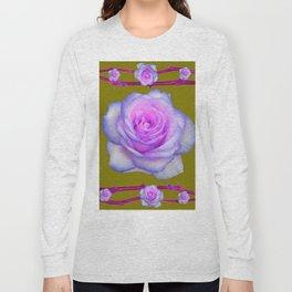 PINK-BLUE TINGED ROSES ON KHAKI COLOR Long Sleeve T-shirt
