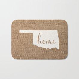 Oklahoma is Home - White on Burlap Bath Mat
