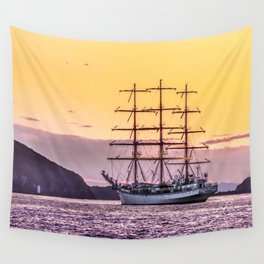 Frigate at sunset Wall Tapestry