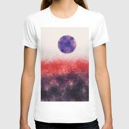 Orange landscape with purple moon T-shirt