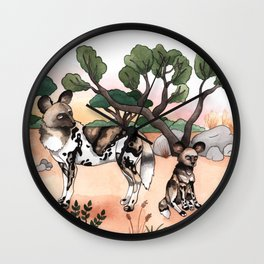 African Wild Dogs Wall Clock