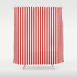 Red & White Maritime Vertical Small Stripes - Mix & Match with Simplicity of Life Shower Curtain