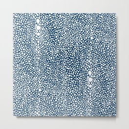 Shagreen White on Navy Metal Print
