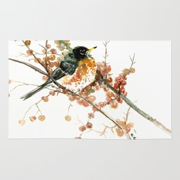 American Robin And Berries, orange bird art Rug