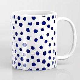Mini dots painterly brushstrokes boho modern indigo blue and white preppy nautical dorm college art Coffee Mug