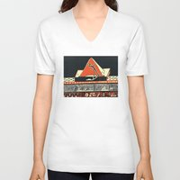 pyramid V-neck T-shirts featuring pyramid by pcart