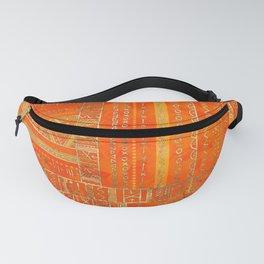 Tribal Ethnic pattern gold on bright orange Fanny Pack