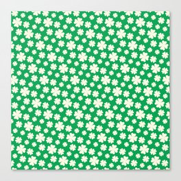Off-White Four Leaf Clover Pattern with Green Background Canvas Print