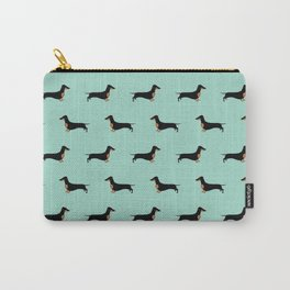 Black and Tan Dachshund Sausage Dog on Mint Green Background Pattern for Dog Lover Doxie Carry-All Pouch