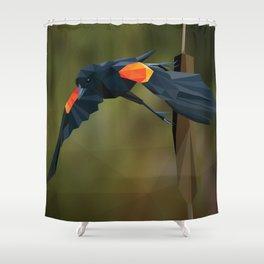 Polygon Redwing Blackbird Shower Curtain