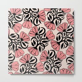 Modern Girly Mauve Pink Black Floral Illustrations Metal Print