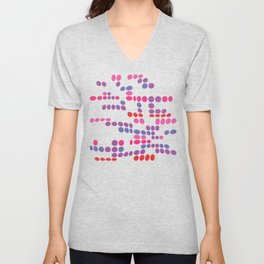 Dottywave - Red Pink Purple wave dots pattern Unisex V-Neck