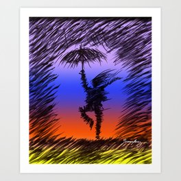 bailando bajo la lluvia Art Print