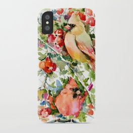 Cardinal Birds and Hawthorn, Cardinal Bird Christmas Design art floral bird decor iPhone Case
