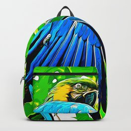 blue yellow breasted macaw parrot bird vector art Backpack