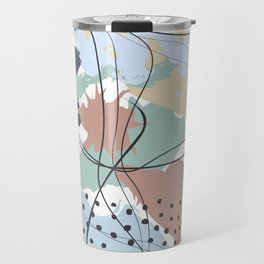 Blue Blush Pastel Decorative Abstract painting -2, Colour Symphony abstraction, Travel Mug
