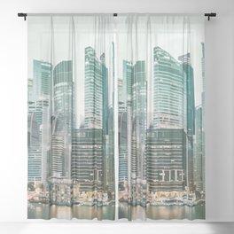 The City at Dusk Sheer Curtain