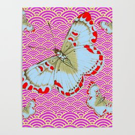 ORIGINAL ORIENTAL STYLE RED-WHITE EXOTIC BUTTERFLY PINK ART Poster