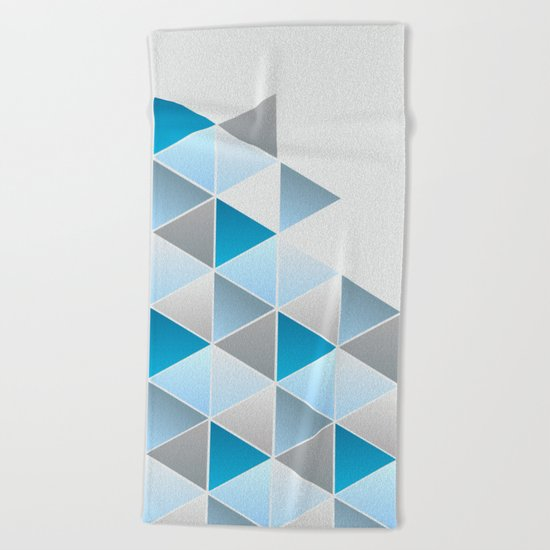 Triangles Blue Gray Geometric Beach Towel