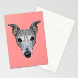Whippet // Pink Stationery Cards
