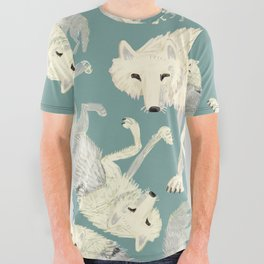 Totem Artic Wolf Turquoise All Over Graphic Tee