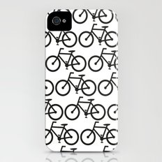 Bicycle Stamp Pattern - Black and White - Fixie Fixed Gear Bike iPhone (4, 4s) Slim Case