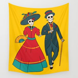 Catrina Couple Mexican Day Of The Dead Wall Tapestry