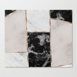 Taupe stones - black marble features Canvas Print