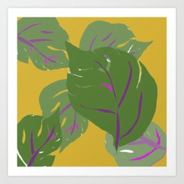 split leaves on gold Art Print