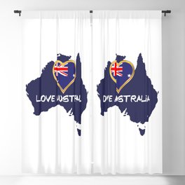 Love Australia Silhouette Map With Flag Blackout Curtain
